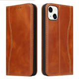 For iPhone 13 Mini Case Brown Fierre Shann Genuine Cowhide Leather Wallet Cover