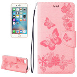 Pink Butterflies Emboss Leather Wallet iPhone SE (2020) / 8 / 7 Case   iCoverLover