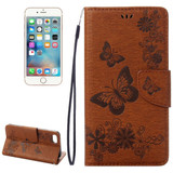 Brown Butterflies Emboss Leather Wallet iPhone SE (2020) / 8 / 7 Case | iCoverLover