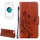 Coffee Butterflies Emboss Leather Wallet iPhone 8 PLUS & 7 PLUS Case   Leather Wallet iPhone 8 PLUS & 7 PLUS Cases   Leather iPhone 8 PLUS & 7 PLUS Covers   iCoverLover