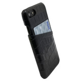 iPhone SE (2020) / 8 / 7 Case Black Crocodile Pattern Genuine Leather Protective Shell with 1 Card Slot, Anti-Grip, Scratch-Resistant and Drop-prooiCoverLover