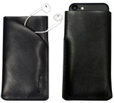 iPhone SE (2020) / 8 / 7 / 6s / 6 Black Top-grain Genuine Leather Pouch | iCoverLover