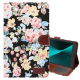 Black Flower Cloth Leather Wallet Samsung Galaxy Tab A 8.0 (2017) Case | Leather Samsung Galaxy Tab A 8.0 (2017) Covers | Leather Samsung Galaxy Tab A 8.0 (2017) Cases | iCoverLover