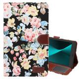 Black Flower Cloth Leather Wallet Samsung Galaxy Tab A 8.0 (2017) Case   Leather Samsung Galaxy Tab A 8.0 (2017) Covers   Leather Samsung Galaxy Tab A 8.0 (2017) Cases   iCoverLover