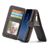 Black Retro Horse Textured Detachable Leather Wallet Samsung Galaxy S9 Case | Faux Leather Samsung Galaxy S9 Cases | iCoverLover