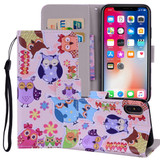 Colored Owl Pattern Wallet iPhone XS MAX Case | Leather Apple iPhone XS MAX Cases | Leather Apple iPhone XS MAX Covers | iCoverLover