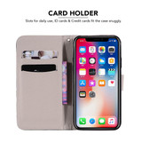 iPhone XR Case Mirrored Cat Patterned Colored Drawing Horizontal Flip Leather Cover with Card Slots, Kickstand and Lanyard | Leather Apple iPhone XR Covers | Leather Apple iPhone XR Cases | iCoverLover