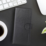 iPhone XR Case Black Real Top-grain Cow Leather Wallet Folio Case with 3 Card Slots, 1 Cash Compartment, Impact-proof, and Enhanced Grip | Genuine Leather iPhone XR Cases | Genuine Leather iPhone XR Covers