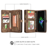 iPhone XS Max Case Brown Leather Multifunctional Case with 11 Card Slots, 1 Cash Slot, 1 Photo Display and Zipper Wallet | Leather Apple iPhone XS Max Cases | Leather Apple iPhone XS Max Covers | iCoverLover