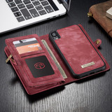 iPhone XR Case Red Detachable Multifunctional Leather Folio Cover with 11 Card Slots, 3 Cash Slot, and 1 Zipper Wallet   Leather Apple iPhone XR Cases   Leather Apple iPhone XR Covers   iCoverLover