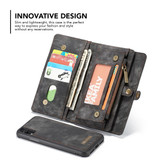 iPhone XR Case Black Detachable Multifunctional Leather Folio Cover with 11 Card Slots, 3 Cash Slot, and 1 Zipper Wallet | Leather Apple iPhone XR Cases | Leather Apple iPhone XR Covers | iCoverLover