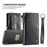 iPhone XR Case Black Detachable Horizontal Flip Leather Case with Lanyard and Buckle, 6 Card Slots, and 1 Cash Slot   Leather Apple iPhone XR Cases   Leather Apple iPhone XR Covers   iCoverLover