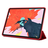 iPad Pro 11 Inch (2018) Case Red Solid Color PU Leather Folio Cover With Three Fold Stand & Wake/Sleep Function   Leather iPad Pro 11 Inch (2018) Cases   iPad Pro 11 Inch Covers   iCoverLover