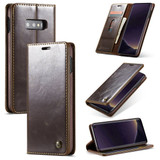 Samsung Galaxy S10e Case Brown PC + PU Leather Business Style Wild Horse Texture Wallet Cover | Leather Samsung Galaxy S10e Covers | Leather Samsung Galaxy S10e Cases | iCoverLover
