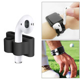 For Apple Airpods 1 & 2 Black Shockproof Cover Case Set with Anti-Lost Rope, Silicone Case, Earphone Hang Buckle and Earplug Cover | AirPods Accessories | iCoverLover
