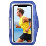 Samsung S10 PLUS and iPhone XS MAX Case Dark Blue PVC Leather Sports Armband with Earphone Hole, Key Holder, Adjustable | Running Sports Accessories | Phone Accessories | iCoverLover
