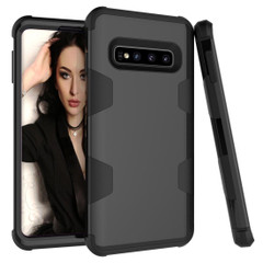 Samsung Galaxy S10 Plus Case Black Armour Silicone & PC Shockproof Anti-Slip Grip Back Cover