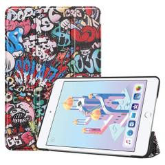 iPad mini 5 2019 Case Graffiti Pattern Karst Texture PU Leather Folio Cover with 3-fold Holder, Sleep/Wake-up Function   Free Delivery Across Australia