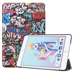 iPad mini 5 2019 Case Graffiti Pattern Karst Texture PU Leather Folio Cover with 3-fold Holder, Sleep/Wake-up Function | Free Delivery Across Australia