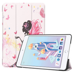 iPad mini 5 2019 Case Fairy Girl Pattern Karst Texture PU Leather Folio Cover with 3-fold Stand, Sleep/Wake Function | Free Delivery Across Australia