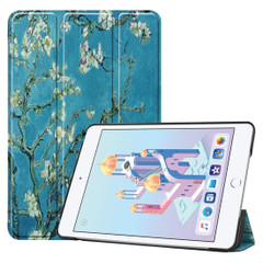 iPad mini 5 2019 Case Apricot Flower Pattern Karst Texture PU leather Folio Cover with Three-fold Stand, Sleep/Wake-up Feature | Free Delivery Across Australia