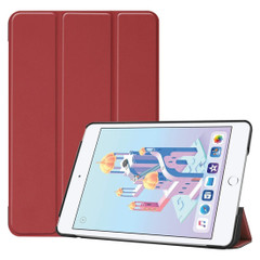 iPad mini 5 (2019) Case Wine Red Karst Texture Smart PU Leather Folio Cover with Sleep/Wake Function, 3-fold Holder | Free Shipping Across Australia