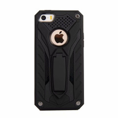 iPhone 5, 5S & SE Case, Armour Strong Shockproof Tough Cover with Kickstand, Black | Armor iPhone 5, 5S & SE Cases | Armor iPhone 5, 5S & SE Covers | iCoverLover