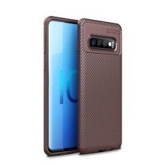 Samsung Galaxy S10 5G Case Brown Carbon Fiber Texture Shockproof TPU Anti-Smudge Protective Cover | Free Delivery across Australia