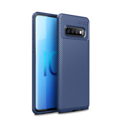 Samsung Galaxy S10 5G Case Blue Carbon Fiber Texture Shockproof TPU Anti-Smudge Protective Cover | Free Delivery across Australia