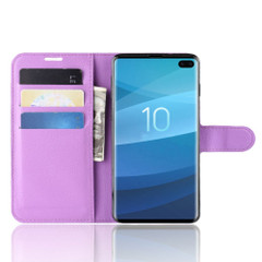 Samsung Galaxy S10 Purple Lychee Texture Horizontal Flip Leather Cover With 3 Card Slots & Stand | Free Delivery across Australia