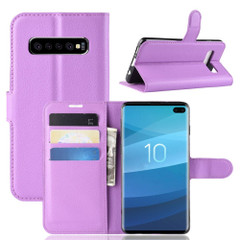 Samsung Galaxy S10 Purple Lychee Texture Horizontal Flip Leather Cover With 3 Card Slots & Stand   Free Delivery across Australia