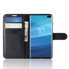 Samsung Galaxy S10 Black Lychee Texture Horizontal Flip Leather Cover With 3 Card Slots & Stand | Free Delivery across Australia