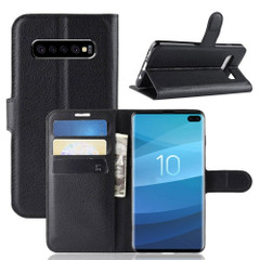 Samsung Galaxy S10 Black Lychee Texture Horizontal Flip Leather Cover With 3 Card Slots & Stand   Free Delivery across Australia