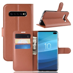 Samsung Galaxy S10 Brown Lychee Texture Horizontal Flip Leather Cover With 3 Card Slots & Stand   Free Delivery across Australia
