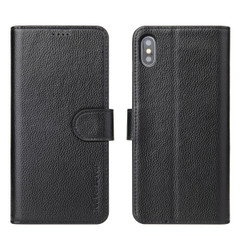 iPhone XS & X Case Black Real Top-grain Cow Leather Wallet Folio Case with 3 Card Slots, 1 Cash Compartment, Impact-proof, and Enhanced Grip | Genuine Leather iPhone XS & X Cases | Genuine Leather iPhone XS & X Covers