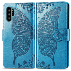 Samsung Galaxy Note 10+ Plus Case Blue Butterfly Flowers Embossed PU Leather Folio Cover with Card Slots, Kickstand| Free Delivery in Australia