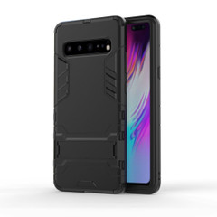 Samsung Galaxy S10 5G Case Black PC+TPU Protective Back Shell with Impact Protection, Scratch Resistance, Kickstand