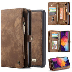 Samsung Galaxy S10 5G Case Brown PU Leather Folio Cover with Detachable Inner Case, Zipper Wallet, Card and Cash Slots