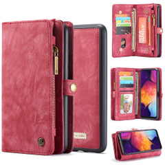 Samsung Galaxy S10 5G Case Red PU Leather Folio Cover with Detachable Inner Case, Zipper Wallet, Card and Cash Slots