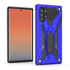 Samsung Galaxy Note 10+ Plus Case Blue Armour PC+TPU Plastic Tough Protective Back Shell with Kickstand, Impact Protection