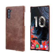 Coffee Elegant Genuine Leather Samsung Galaxy Note 10 Case | Samsung Galaxy Note 10 Genuine Leather Covers | Samsung Galaxy Note 10 Leather Cases | iCoverLover