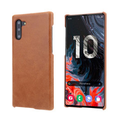 Brown Elegant Genuine Leather Samsung Galaxy Note 10 Case | Samsung Galaxy Note 10 Genuine Leather Covers | Samsung Galaxy Note 10 Leather Cases | iCoverLover