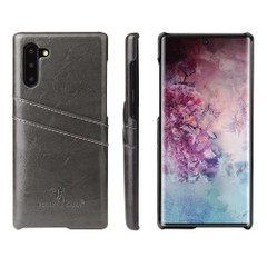 Samsung Galaxy Note 10 Case Grey Deluxe PU Leather Back Shell with 2 Card Slots, Slim and Lightweight Build & Shockproof   Leather Samsung Galaxy Note 10 Covers   Leather Samsung Galaxy Note 10 Cases   iCoverLover