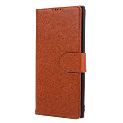 Samsung Galaxy Note 10 Plus Case Brown Fashion Cowhide Genuine Leather Flip Cover with 2 Card Slots, 1 Cash Slot & Shockproof | Genuine Leather Samsung Galaxy Note 10 Plus Covers Cases | Genuine Leather Samsung Galaxy Note 10 Plus Covers
