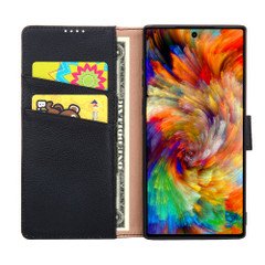 Samsung Galaxy Note 10 Plus Case Black Fashion Cowhide Genuine Leather Flip Cover with 2 Card Slots, 1 Cash Slot & Shockproof | Genuine Leather Samsung Galaxy Note 10 Plus Covers Cases | Genuine Leather Samsung Galaxy Note 10 Plus Covers