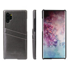Samsung Galaxy Note 10 Plus Case Grey Deluxe PU Leather Back Shell with 2 Card Slots, Slim and Lightweight Build & Shockproof   Leather Samsung Galaxy Note 10 Plus Covers   Leather Samsung Galaxy Note 10 Plus Cases   iCoverLover