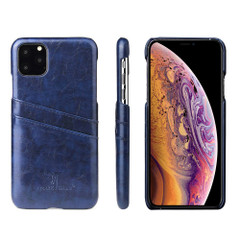 iPhone 11 Case Blue Deluxe PU Leather Back Shell with 2 Card Slots, Ultra Slim Build & Impact-Resistant   Leather iPhone 11 Covers   Leather iPhone 11 Cases   iCoverLover