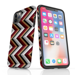 For iPhone 11 Pro Max Protective Case, Zigzag Black Brown Red Pattern | iCoverLover Australia