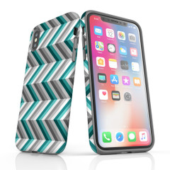 For iPhone 11 Pro Max Protective Case, Zigzag Blue Grey Pattern   iCoverLover Australia
