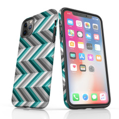For iPhone 11 Pro Max Protective Case, Zigzag Blue Grey Pattern | iCoverLover Australia